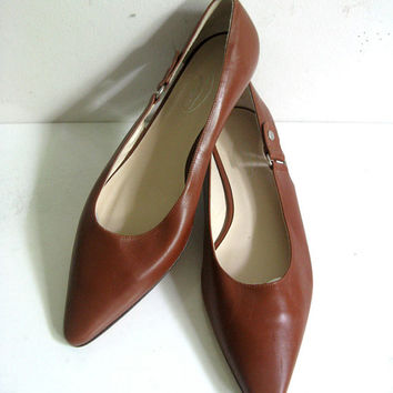 Vintage Talbots 1980s Leather Shoes Brown Made In Italy Women's Shoes Size 8.5M