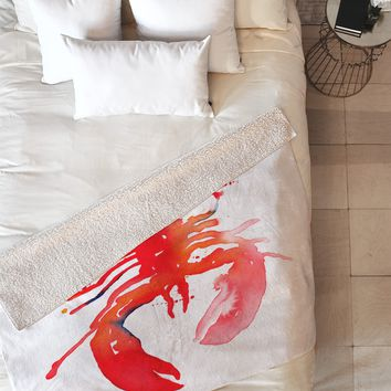 CMYKaren Lobster Fleece Throw Blanket