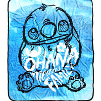 Disney Lilo & Stitch Ohana Means Family Sketch Art Plush Throw Blanket