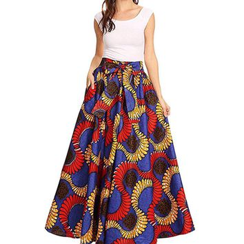 2018 Summer African Women Clothing Long Maxi  For Women Riche Robe Longue Femme Plus Size Print Cotton Skirt