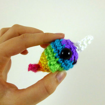 Baby Narwhal - Bright Rainbow Striped - Purple Face - Made to Order - Amigurumi Crochet Plushie