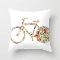Whimsical cute girly floral retro bicycle Throw Pillow by Girly Trend | Society6