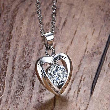 Mother's Gift Necklace 'the Love Between Mother and Her Daughter Is for Ever 'Stainless Steel Pendant kolye Heart CZ Jewelry