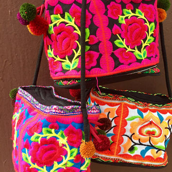 Multicolor Embroidered Boho Crossbody bag Flower Coin Purse Phone bag gypsy Hippies Pouch Bohemian style Festival Christmas gift for her