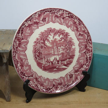 Antique Mason's Patent Ironstone China Vista Round Platter • Red Pink Transferware • Circa 1920 • Large Chop Plate • Beautiful Crazing