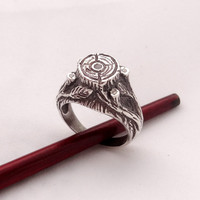 Solid Sterling Silver Ring Stump and 4 cubic zirconia, super zircon, nature theme silver jewelry branch ring leaf ring sizes 7, 8, 9, 10, 11