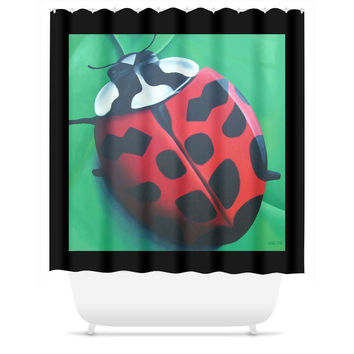 Lunching Lady . . . Bug - Shower Curtain of Ladybug Acrylic Paint Fine Art