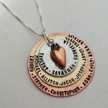 Hand Stamped Necklace Charm Mommy Jewelry Custom Stack Copper, Stainless steel & Brass 3 disc