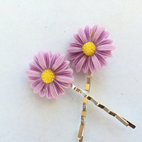 Lavender Daisy Bobby Pins - Purple Flower Hair Pin Set - Flower Hair Accessories - Fashion Hair Pins - Womens Bobby Pin Set -