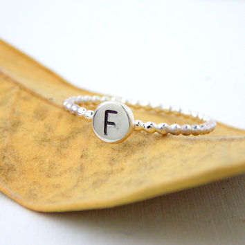 Initial Stacking Ring with Beaded Band: sterling silver ring, dainty ring, simple ring, small ring, letter ring, beaded ring