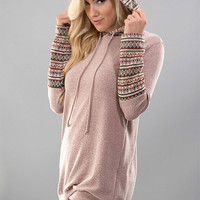 Cabin Cozy Mauve Hoodie Tunic - FINAL SALE NO RETURNS NO EXCHANGES