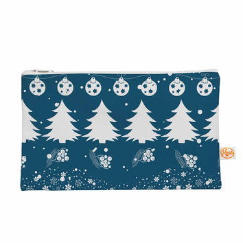 """Famenxt """"Merry Merry Christmas"""" Blue White Holiday Illustration Everything Bag"""