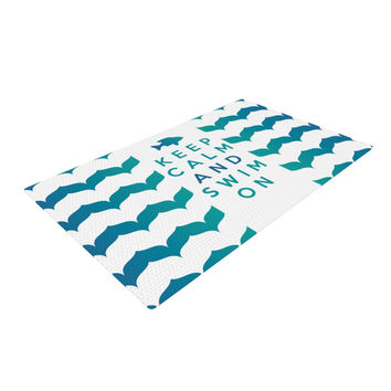 "Nick Atkinson ""Keep Calm and Swim On"" Teal White Woven Area Rug"