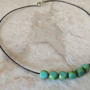 Turquoise Necklace, Beaded Turquoise Necklace