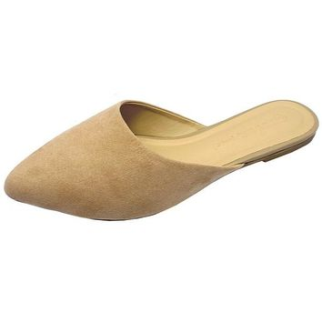 Diva Pointy Toe Casual Mule Flats