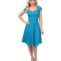 Unique Vintage Teal Short Sleeve Grace Swing Dress