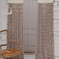 Couture Dreams Chichi Petal with Jute Header Window Curtain, Sable