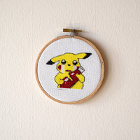 Framed Pikachu Cross Stitch | Pokemon Inspired Framed Needlepoint | Finished 4x4 Video Game Cross Stitch | 4 inch Wooden Embroidery Hoop |