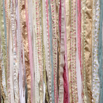 Shabby Rustic Chic Boho Fabric Garland Backdrop - Nursery, Dorm, Gypsy Festival Curtain, Room Decor - Glamping Caravan- 6 ft x 6 ft