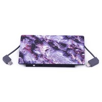4000 mAh Portable Power Bank Phone Charger - Purple Stone Marble