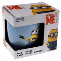 Universal Despicable Me Kevin Dave Minion Ceramic Coffee Mug Blue White Eyes Box