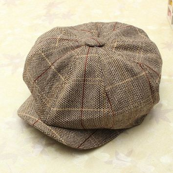 9096fc354f5 Men Women Vintage Tweed Cap Newsboy Golf Driving Flat Cabbie Hat