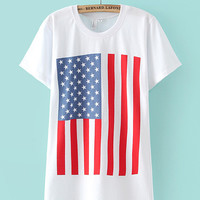 White American Flag Print Short Sleeve Graphic T-shirt