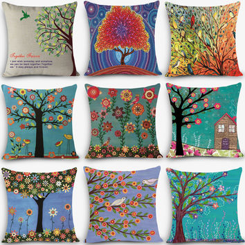 "decorative throw pillow colorful tree Print Home Decorative Cushion 18"" Vintage Cotton Linen"