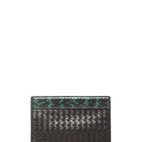 Python Folded Clutch in Emerald Green & Black