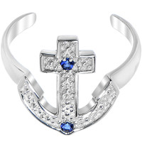 925 Sterling Silver Blue CZ Anchor Toe Ring | Body Candy Body Jewelry