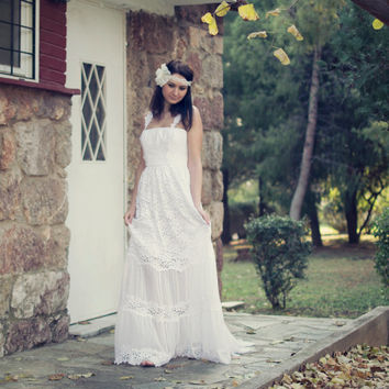White Lace Bohemian Wedding Dress Boho Bridal Long Wedding Gown - Handmade by SuzannaM Designs