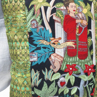 Frida in the Night Garden Throw Pillow Decorative Bed or Chair Pillow Green and Black
