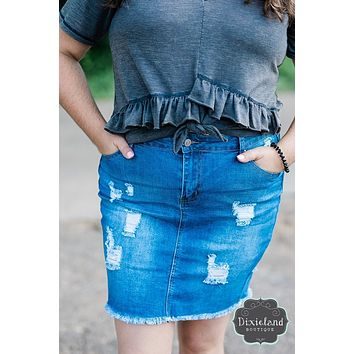 {Plus} Wax Brand Denim Skirt