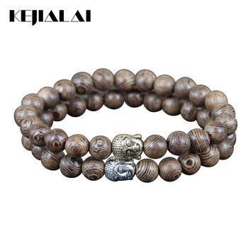 2018 2pcs Hot Natural 8mm Wooden Round Stone Bead Charm Women Bracelet Gold/Silver Color Buddha Head Gem Stone Bead Men Bracelet