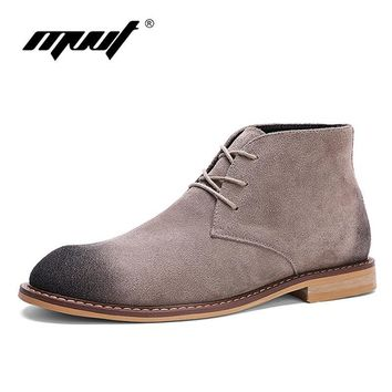 MVVT Retro men's boots Cow suede leather shoes men ankle boots classics men chelsea bo