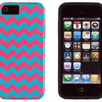 DandyCase 2in1 Hybrid High Impact Hard Aqua & Pink Chevron Pattern + Silicone Case Case Cover For Apple iPhone 5S & iPhone 5 (not 5C) + DandyCase Screen Cleaner