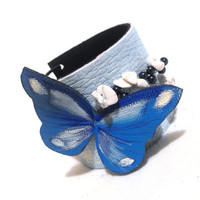 Blue butterfly leather bracelet cuff by julishland on Etsy