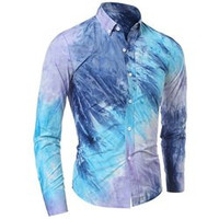 One Patch Pocket 3D Tie-Dye Slimming Shirt Collar Long Sleeves Men's Ombre Button-Down Shirt