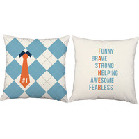 Set of 2 Father Anagram Pillows - Dad Pillow Covers and or Cushion Inserts - Best Dad Print, Number One Dad, Father's Day Gift, New Dad
