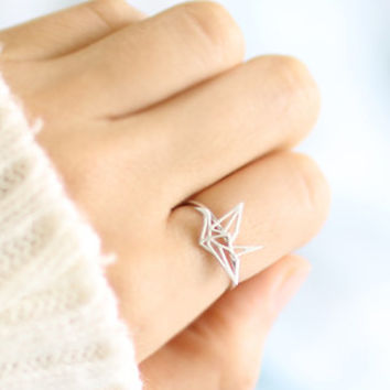 Folded Crane Ring, Paper Crane Ring, Cute Ring, Bird Ring, Simple Ring, Girls Gift