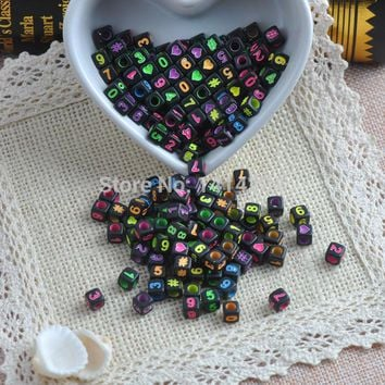 Mixed Black Acrylic number square Beads Pony Beads For Jewelry Making 6X6mm 400Pcs YKL0228