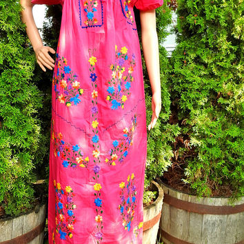 Mexican maxi dress, pink bohemian dress, boho dress tall women, embroidered mexican dress, bridesmaids dresses mexican, Mexico hippie dress