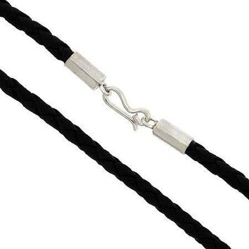 "Genuine Leather Cord Braided Sterling Silver 17"""" Chain Thick Smooth Necklace"