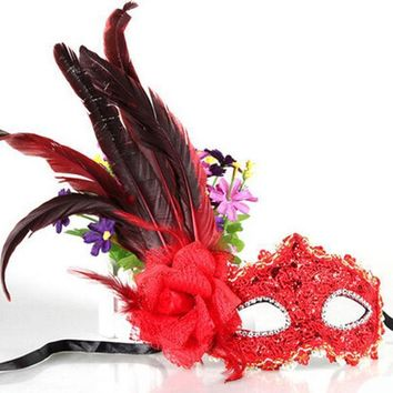 Leather Big Plume Flower Mask Party Ball Masquerade Masks Halloween Princess Of Venice Mask Woman Lady Female Wedding Decoration