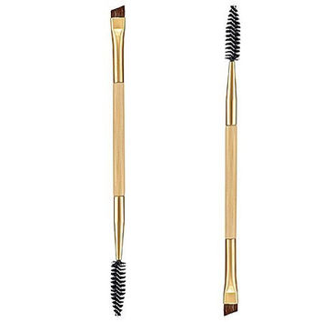 Bamboo Handle Double + Eyebrow Comb and Makeup Brush