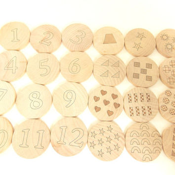 Numbers Matching Game 24 Pieces Wooden Toy