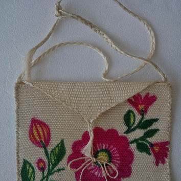 Mexican Hand painted flower Jute Tote clutch bag, Ethnic handbag, Mexican Morral Woven Purse, Boho woven bag, woven tote, flower bag