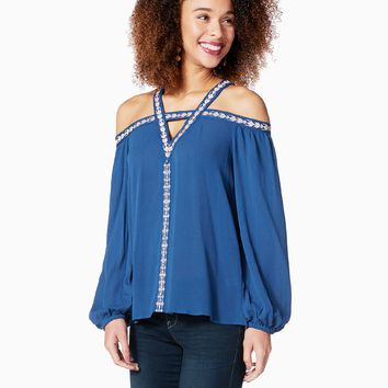 Vee Embroidered Top | Charming Charlie