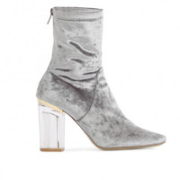 CHLOE PERSPEX HEELED ANKLE BOOTS IN GREY VELVET