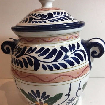 Tabletops Unlimited Talavera Pottery Vase Jar w/Lid HandPainted Laurel Floral